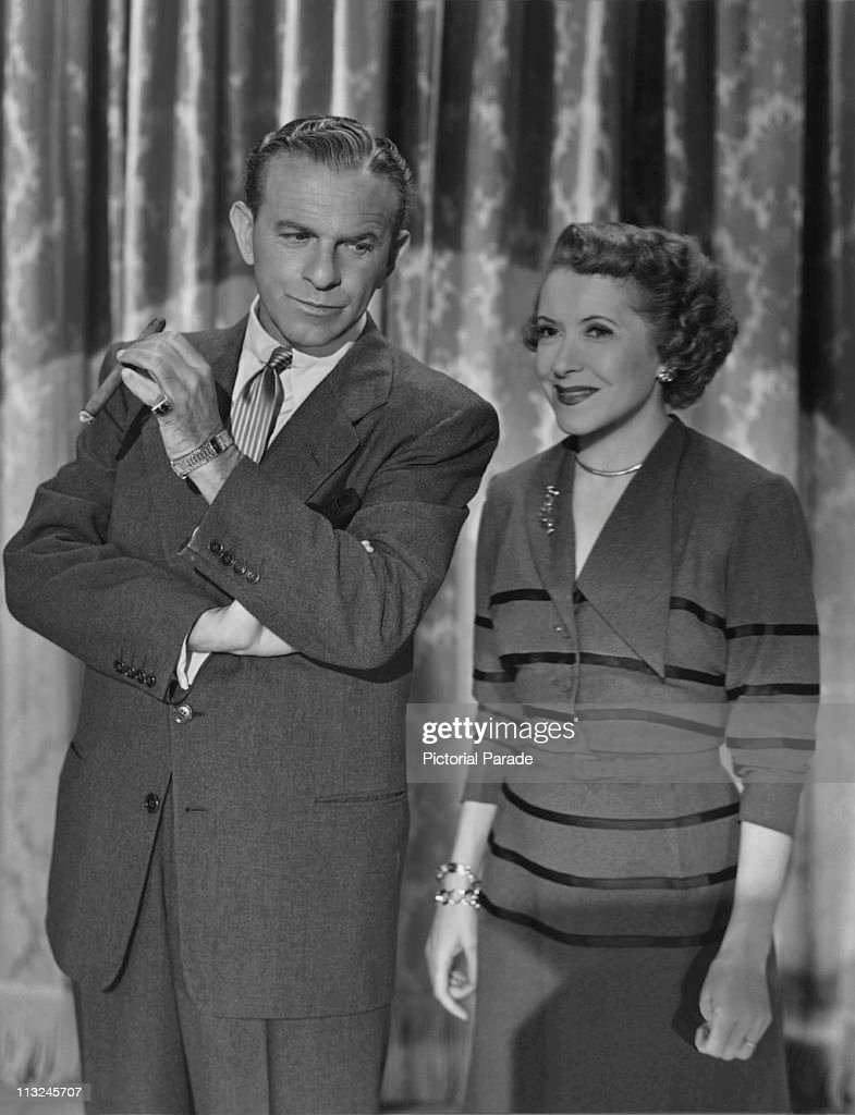 American actor George Burns with his wife actress Gracie Allen on stage in the 1950's