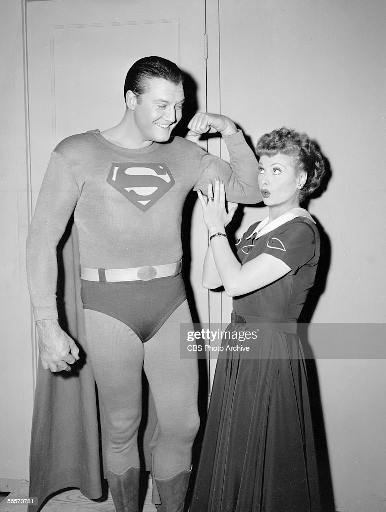 American actor <a gi-track='captionPersonalityLinkClicked' href=/galleries/search?phrase=George+Reeves+-+Actor&family=editorial&specificpeople=892820 ng-click='$event.stopPropagation()'>George Reeves</a> (1914 -1959) (in Superman costume) flexes his bicep while actress and comedian <a gi-track='captionPersonalityLinkClicked' href=/galleries/search?phrase=Lucille+Ball&family=editorial&specificpeople=70020 ng-click='$event.stopPropagation()'>Lucille Ball</a> (1911 - 1989) (as Lucy Ricardo) touches his muscle during the episode 'Lucy and Superman' of Ball's sitcom series 'I Love Lucy,' Hollywood, California, November 15, 1956.