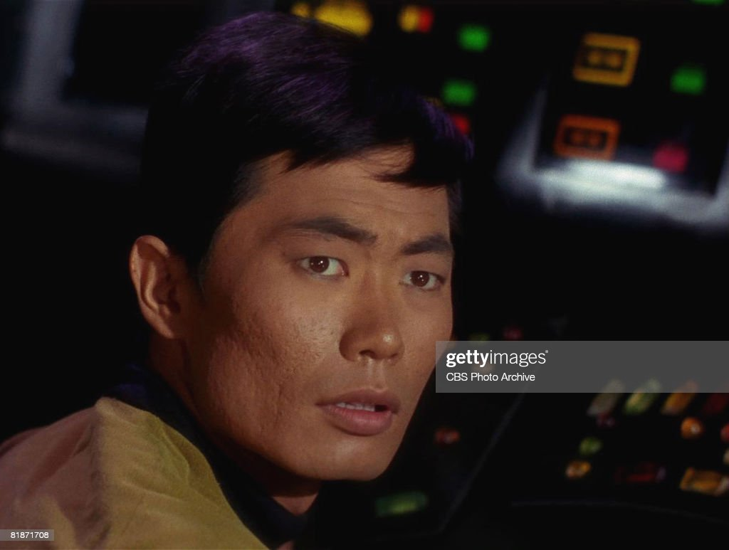 American actor <a gi-track='captionPersonalityLinkClicked' href=/galleries/search?phrase=George+Takei&family=editorial&specificpeople=1534988 ng-click='$event.stopPropagation()'>George Takei</a> appears as Sulu in a scene from 'The Man Trap,' the premiere episode of 'Star Trek,' which aired on September 8, 1966.