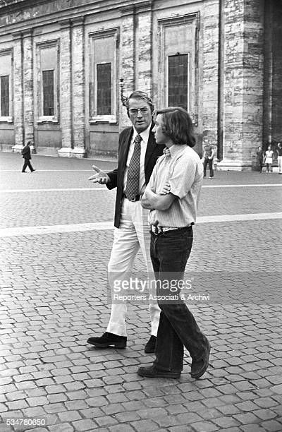 American actor Gregory Peck and his son Anthony having a walk in St Peter Square Rome 1973