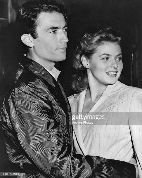 American actor Gregory Peck and Swedish actress Ingrid Bergman on set of Alfred Hitchcock's 'Spellbound' in 1945
