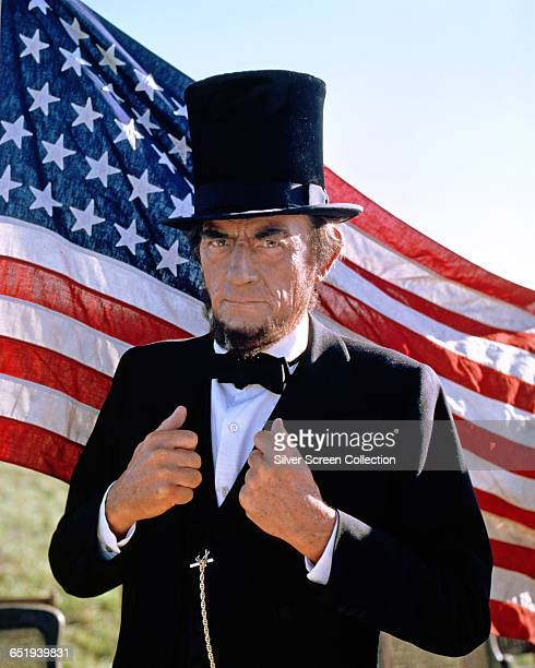 American actor Gregory Peck as US President Abraham Lincoln in the television miniseries 'The Blue and the Gray' 1982