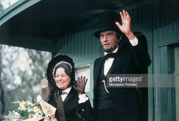 American actor Gregory Peck playing Abraham Lincoln and American actress Janice Carroll playing his wife Mary Todd greeting in The Blue and the Gray...