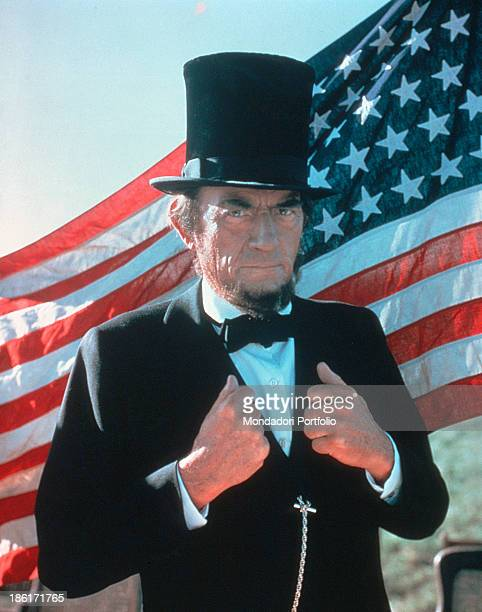 American actor Gregory Peck playing Abraham Lincoln in the TV miniseries The Blue and the Gray 1982