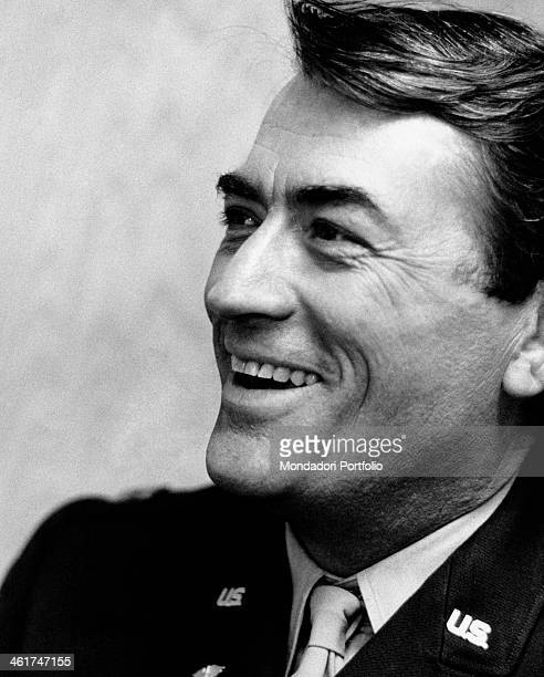 American actor Gregory Peck smiling on the set of the film Captain Newman MD Hollywood 1963