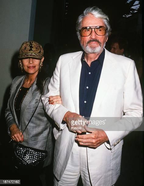 American actor Gregory Peck with his wife Veronique circa 1990