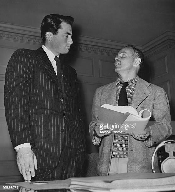 American actor Gregory Peck with producer Darryl F Zanuck during filming of 'Gentleman's Agreement' directed by Elia Kazan May 1947
