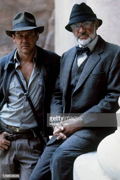 American actor Harrison Ford as the eponymous archaeologist and Scottish actor Sean Connery as his father Henry Jones in a publicity still for the...