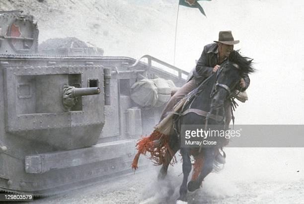 American actor Harrison Ford as the eponymous archaeologist in the tank chase scene from the film 'Indiana Jones and the Last Crusade' 1989