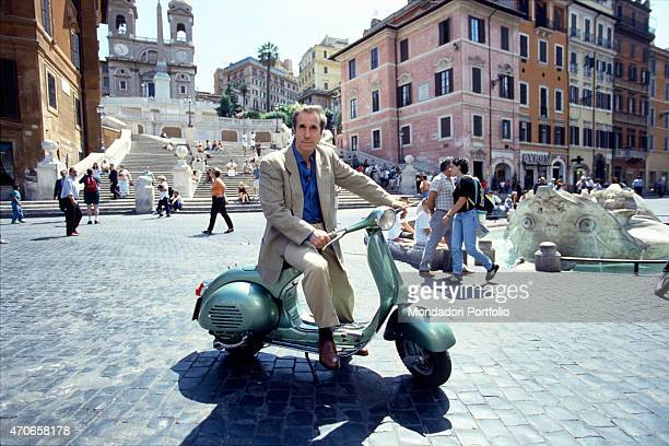 'American actor Henry Winkler takes a ride on a Vespa in Piazza di Spagna the former sitcom star famous for his role as Fonzie in ''Happy Days'' and...