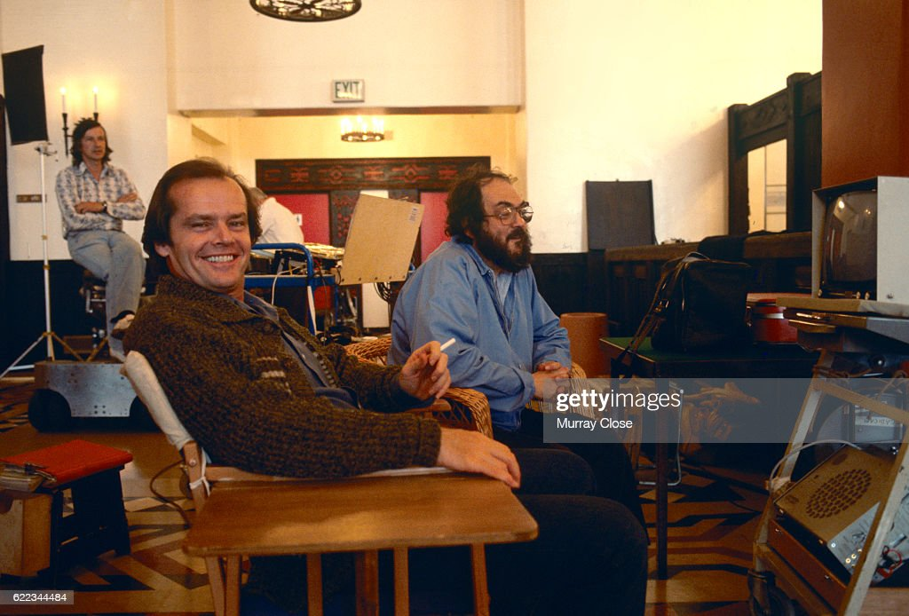 American actor Jack Nicholson and director and producer Stanley Kubrick on the set of Kubrick's film, The Shining.