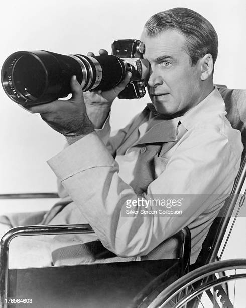American actor James Stewart as wheelchairbound photographer L B Jefferies in a promotional portrait for 'Rear Window' directed by Alfred Hitchcock...