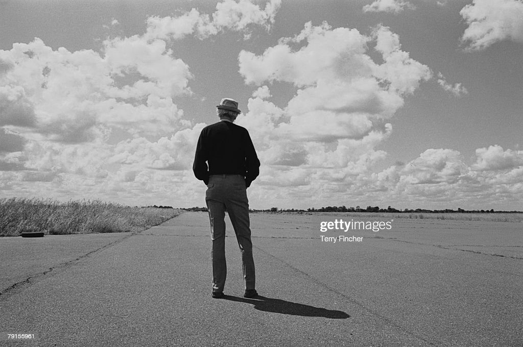 American actor James Stewart (1908 - 1997) revisits one of the air force bases, where he was stationed during his service with the United States Army Air Corps during World War II, circa 1985.