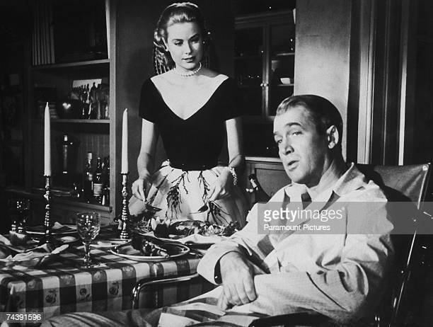 American actor James Stewart stars as photographer L B Jefferies and Grace Kelly as his girlfriend Lisa in the film 'Rear Window' directed by Alfred...