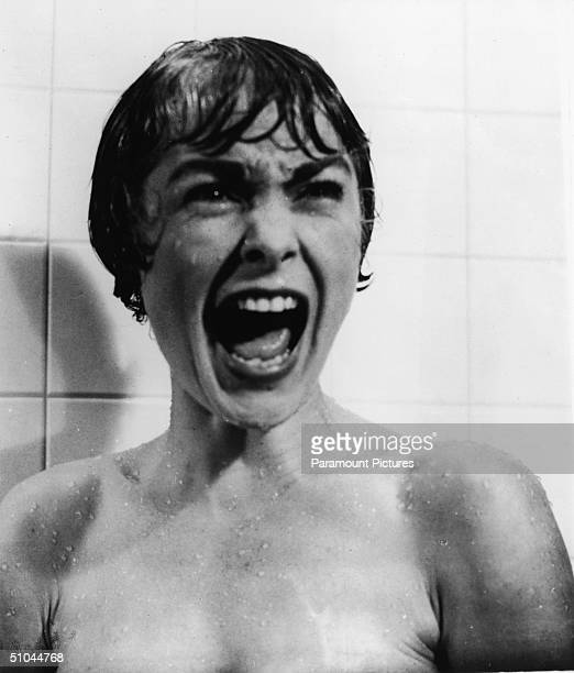 American actor Janet Leigh screams in the shower in the famous scene from the film 'Psycho' directed by Alfred Hitchcock 1960