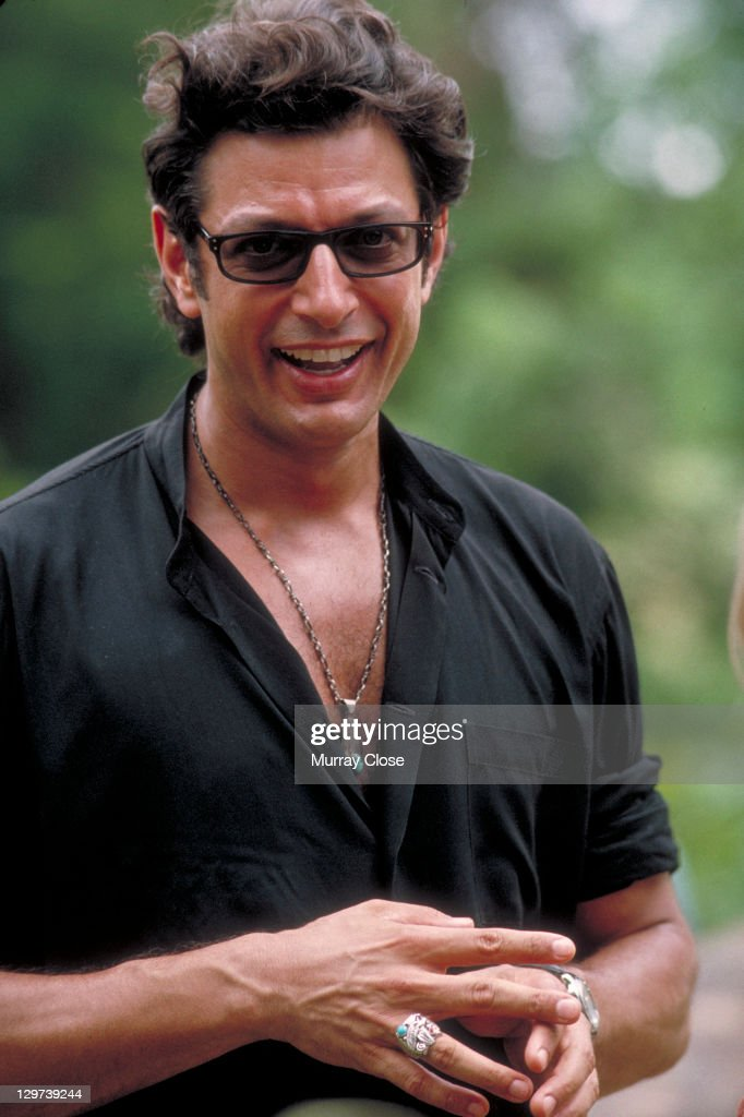 American actor Jeff Goldblum as Dr. Ian Malcolm on the set of the film 'Jurassic Park', 1993.