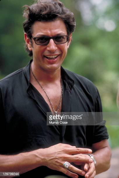 American actor Jeff Goldblum as Dr Ian Malcolm on the set of the film 'Jurassic Park' 1993