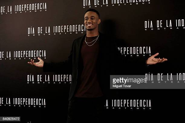 American actor Jessie T Usher poses for pictures during the press conference of the movie 'Independence Day Resurgence' at Four Seasons Hotel on June...