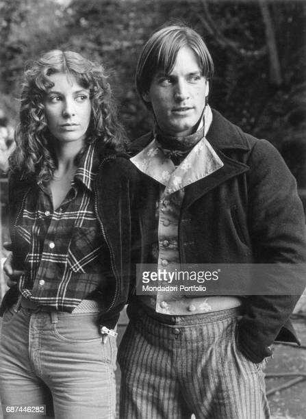 American actor Joe Dallesandro with his partner the Italian actress Stefania Casini on the set of the film Un cuore semplice directed by Giorgio...
