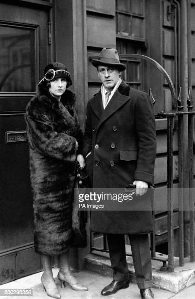 American actor John Barrymore and British stage star Fay Compton at the Haymarket stage door London