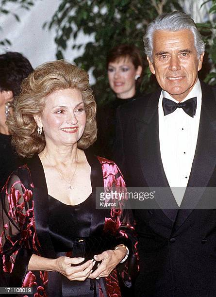 American actor John Forsythe with his wife Julie circa 1990