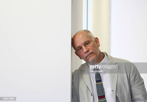 American Actor John Malkovich rests his head against a doorway during a press conference for 'The Giacomo Variations' on January 17 2011 in Sydney...
