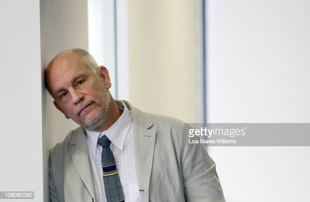 American Actor John Malkovich rests his head against a wall prior to the start of a press conference for 'The Giacomo Variations' on January 17 2011...