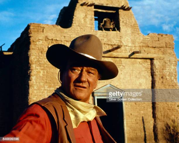 American actor John Wayne as Cole Thorton on the set of the western movie 'El Dorado' based on the novel by Harry Brown and directed by Howard Hawks...