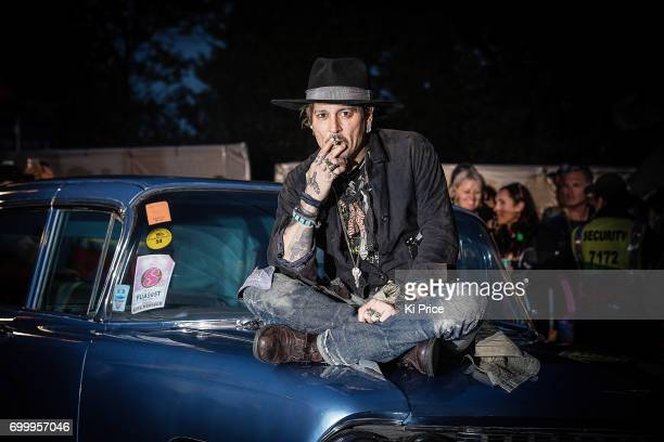 American actor Johnny Depp introduces his film 'The Libertine' on day 1 of the Glastonbury Festival 2017 at Worthy Farm Pilton on June 22 2017 in...