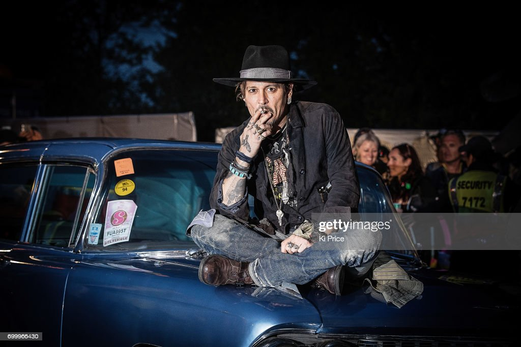 American actor Johnny Depp introduces his film 'The Libertine' on day 1 of the Glastonbury Festival 2017 at Worthy Farm, Pilton on June 22, 2017 in Glastonbury, England.