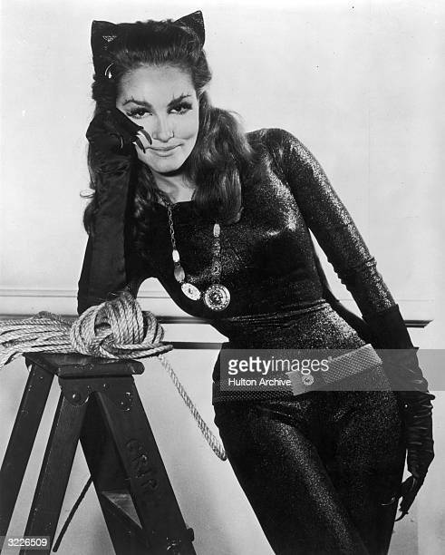 American actor Julie Newmar in costume as Catwoman in a promotional portrait for the television series 'Batman'