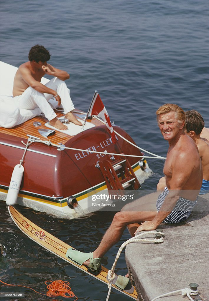 American actor Kirk Douglas prepares to go waterskiing at the Hotel du CapEdenRoc in Antibes on the French Riviera August 1969