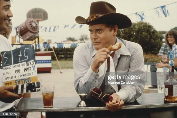 American actor Larry Hagman on the set of the television soap opera 'Dallas' 18th July 1979