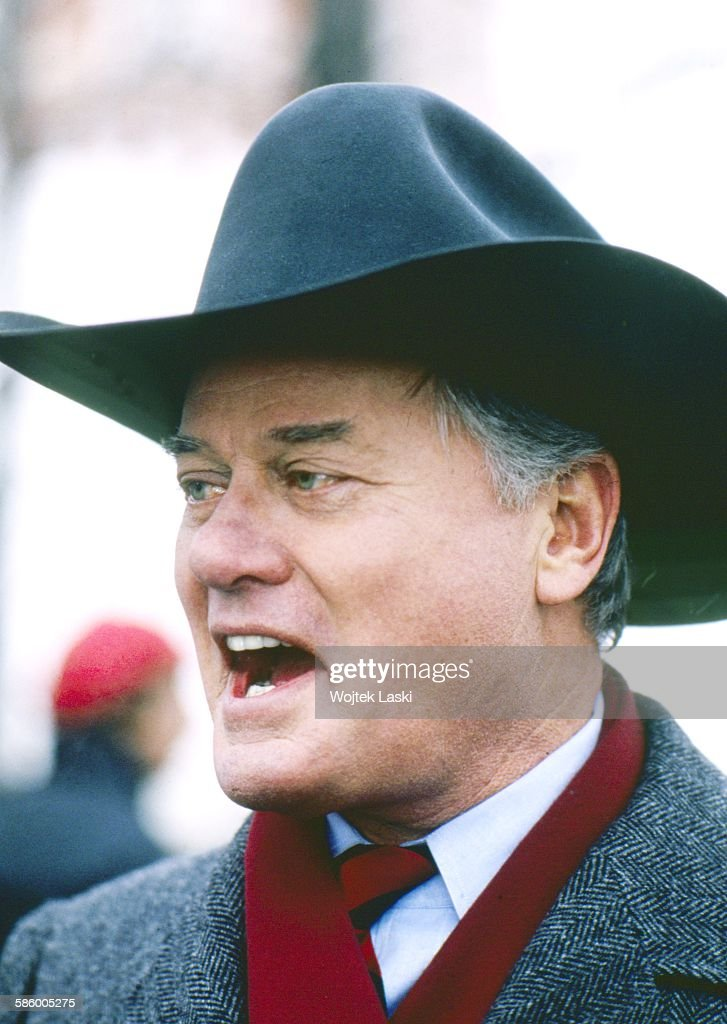 American actor Larry Hagman on the set of the TV soap opera 'Dallas' in Moscow Russia 20th March 1989