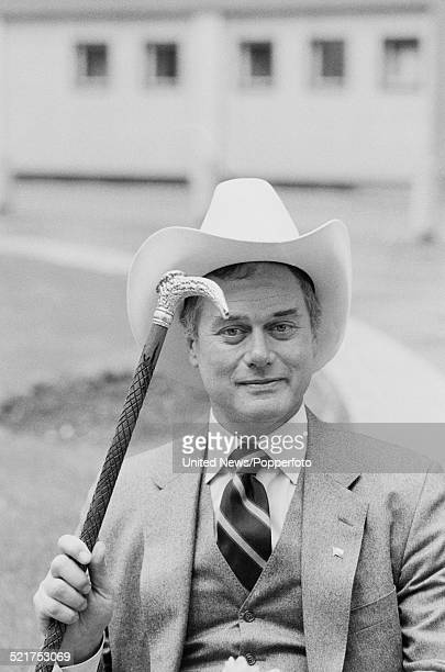 American actor Larry Hagman pictured in character as J R Ewing from the television soap opera Dallas at BBC Television Centre in London on 21st March...