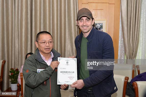 American actor Lee Pace poses with a certificate of Chengdu Pambassador at Chengdu Research Base of Giant Panda Breeding on February 21 2017 in...