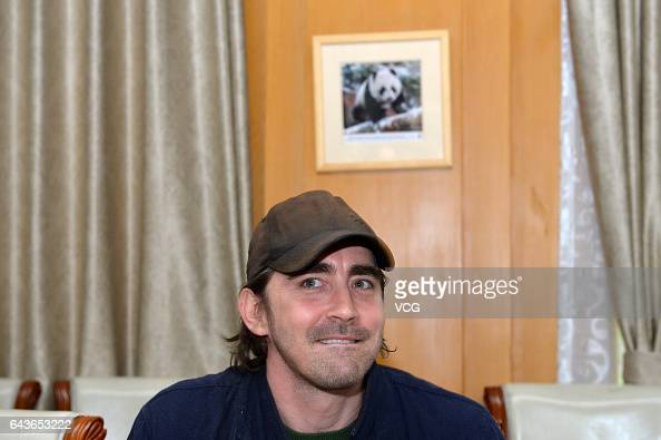 American actor Lee Pace visits Chengdu Research Base of Giant Panda Breeding on February 21 2017 in Chengdu Sichuan Province of China