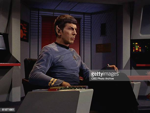 American actor Leonard Nimoy appears as Mr Spock in a scene from 'The Man Trap' the premiere episode of 'Star Trek' which aired on September 8 1966