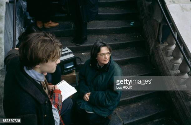 American actor Leonardo DiCaprio and Polish director Agnieszka Holland on the set of Holland's film Total Eclipse