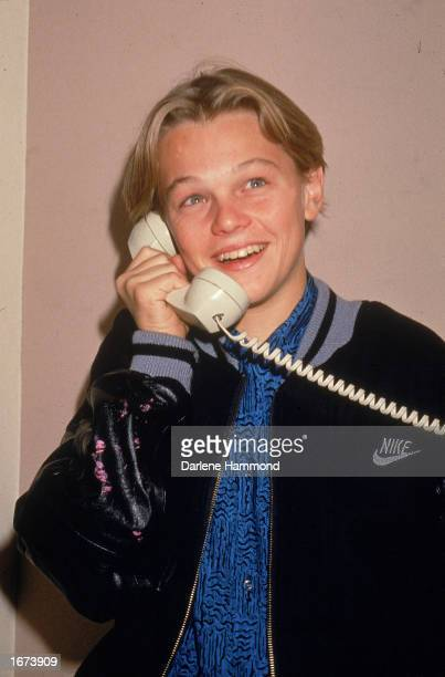 American actor Leonardo DiCaprio talks on the telephone circa 1989
