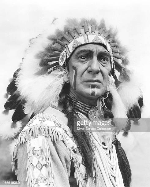 American actor Lon Chaney Jr as a native American chief circa 1955
