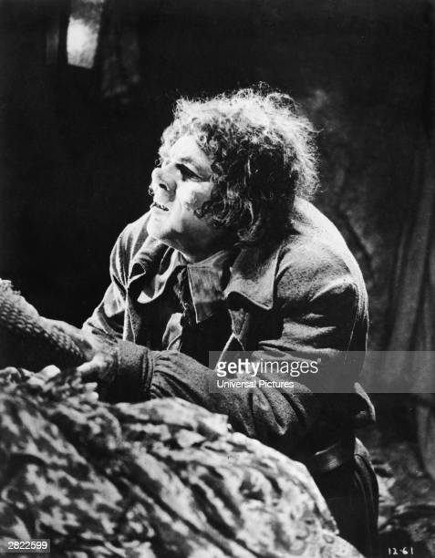 American actor Lon Chaney playing Quasimodo in a still from the silent film 'The Hunchback of Notre Dame' directed by Wallace Worsley 1923