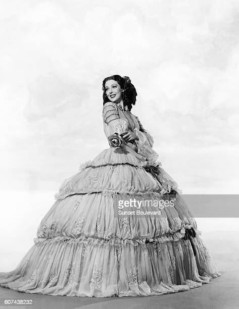 American actor Loretta Young on the set of The Men in Her Life based on the novel 'Ballerina' by Eleanor Smith and directed by Gregory Ratoff
