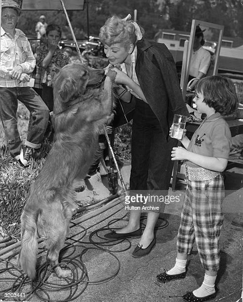 American actor Lucille Ball playing with a golden retriever while several children look on on the set of director Vincente Minnelli's film 'The Long...