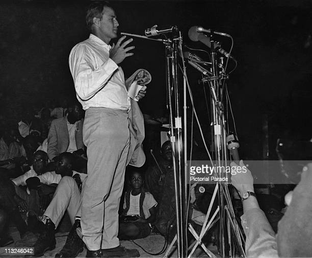 American actor Marlon Brando addressing a rally during the Meredith March Against Fear in Mississippi in June 1966
