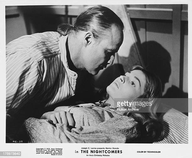 American actor Marlon Brando and actress Stephanie Beacham in a scene from the film 'The Nightcomers' 1971