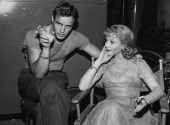 American actor Marlon Brando and British stage and film actress Vivien Leigh relax on the set of 'A Streetcar Named Desire' circa 1951