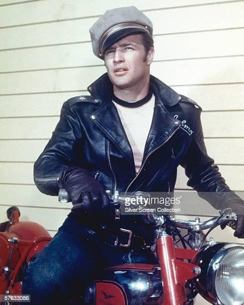 American actor Marlon Brando as biker gang leader Johnny Strabler in 'The Wild One' directed by Laszlo Benedek 1953