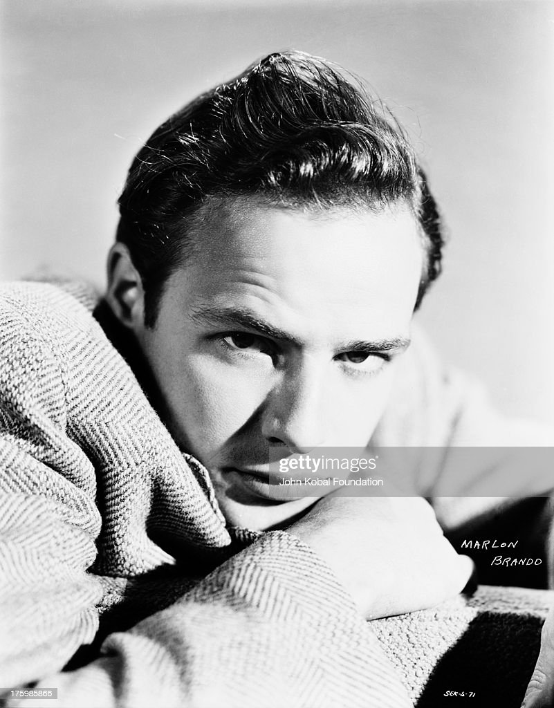 American actor <a gi-track='captionPersonalityLinkClicked' href=/galleries/search?phrase=Marlon+Brando&family=editorial&specificpeople=85897 ng-click='$event.stopPropagation()'>Marlon Brando</a> (1924 - 2004) in a publicity still for his first film, 'The Men', directed by Fred Zinnemann, 1950.