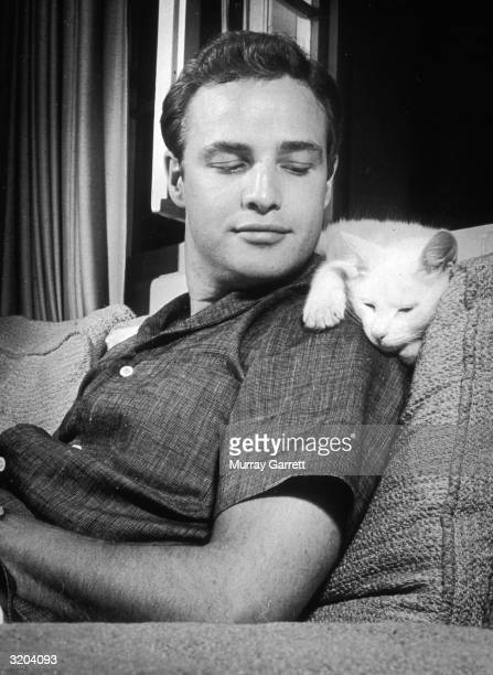 American actor Marlon Brando leans back on a sofa and smiles at a cat who lays across his shoulders at his home in Los Angeles California